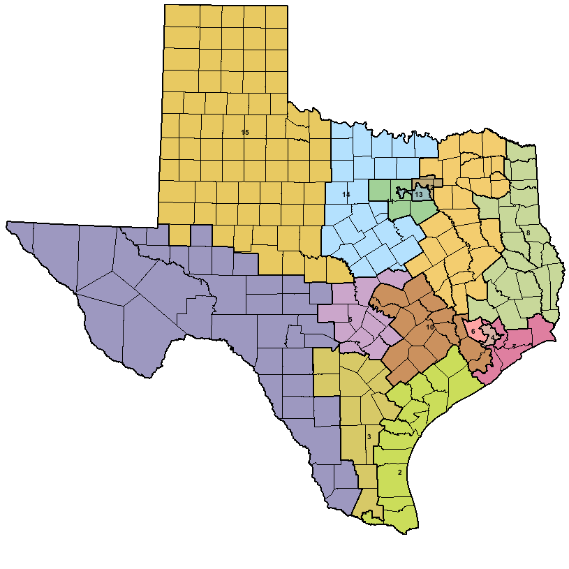 Texas Districts (District 10 is brown.)